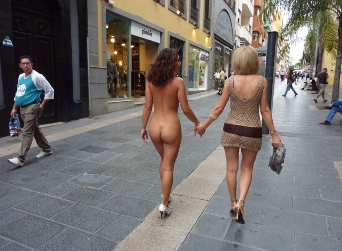 Nude and clothed women