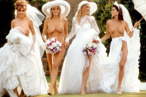 Naked and topless women at a wedding