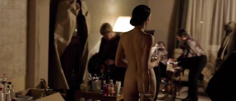 Naked woman at a party