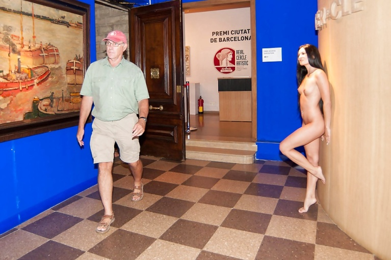 Naked woman in museum