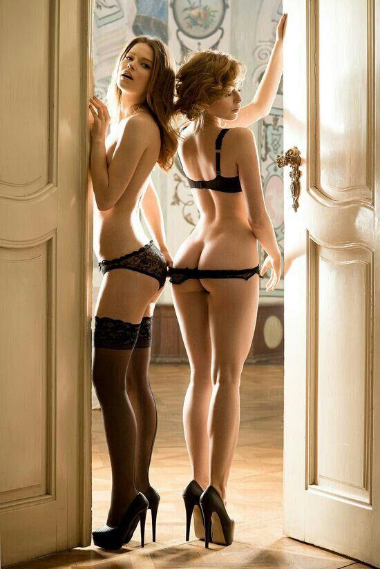 Two women in scant lingerie