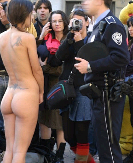 Naked woman in a crowd