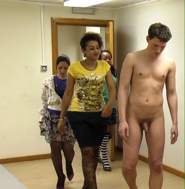 Naked man with clothed women