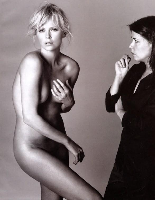 Naked woman beside clothed woman