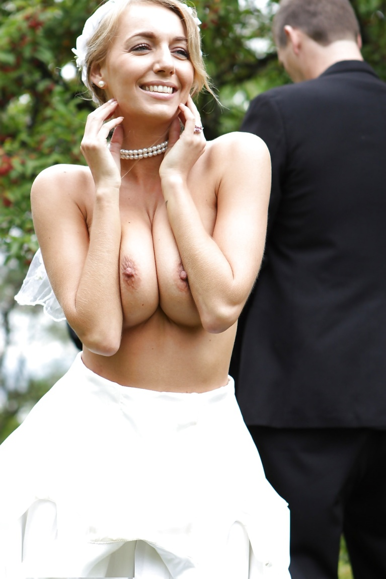 Topless woman in wedding dress