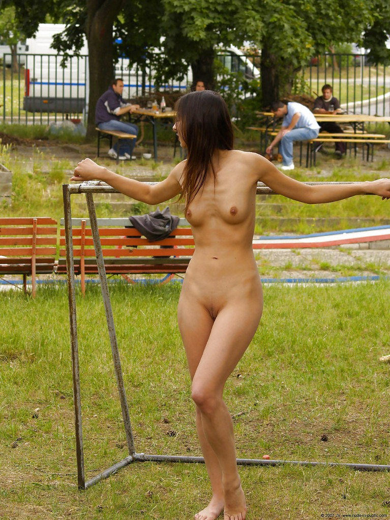 Naked woman in a park