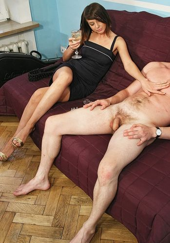 Naked man being touched by clothed woman