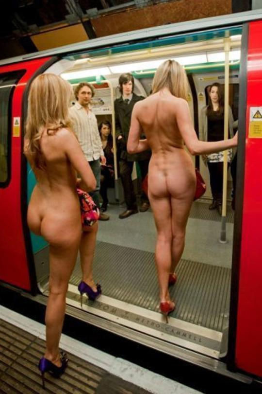 Naked women boarding a subway train