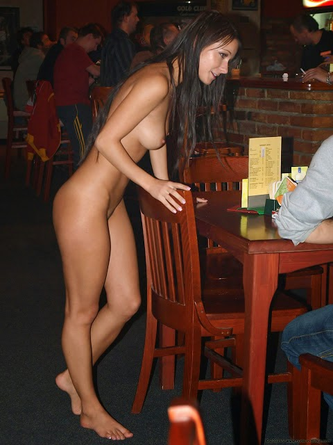 Naked woman in a restaurant